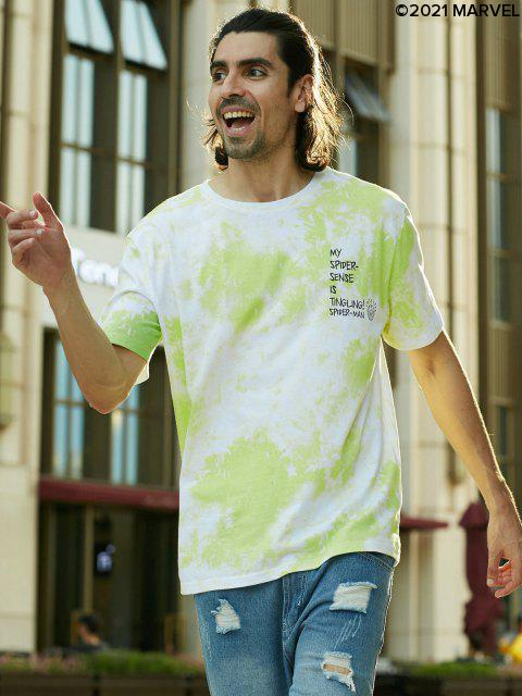 Camiseta de Tie-dyedeMarvelconEstampadodeSpider-Man - Manzana Verde S Mobile