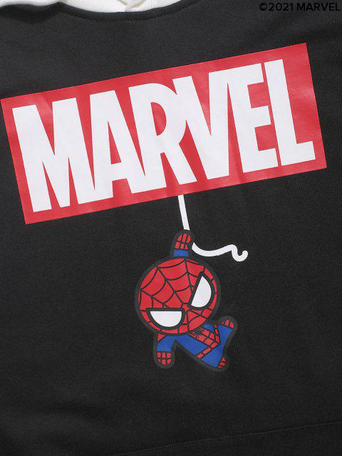 new Marvel Spider-Man Graphic Faux Twinset Hoodie - BLACK S Mobile