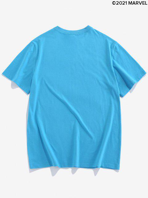 T-Shirt Basic con Grafica di Ragno - Blu  Seta XL Mobile
