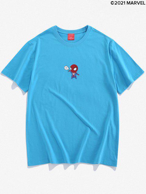 Camiseta Básica con Estampado de Spider-Man - Azul de Seda 2XL Mobile