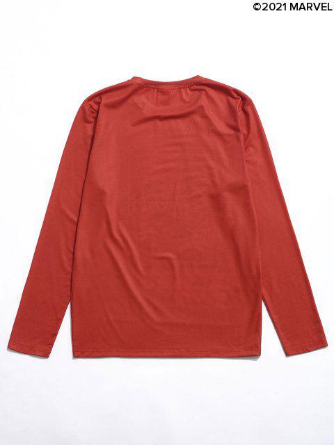 T-Shirt Casuale Asimmetrica Grafica con Maniche Lunghe - Rosso L Mobile