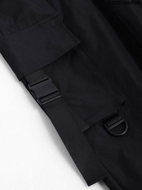 Pantaloni Cargo a Vita Elastica con Stampa Ragno - Nero S Mobile