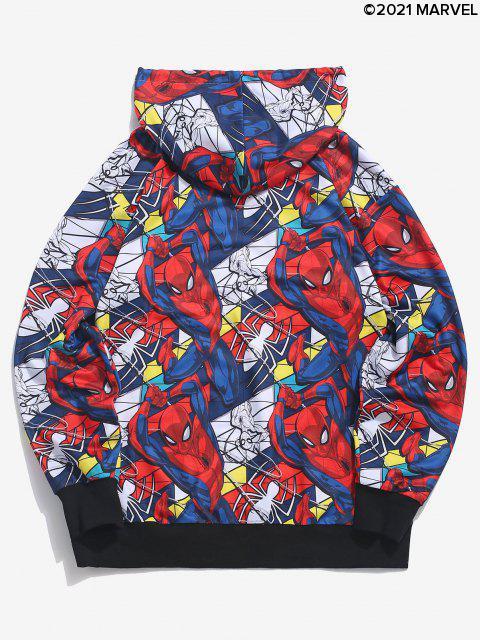 trendy Marvel Spider-Man Allover Figure Print Hoodie - DENIM DARK BLUE M Mobile