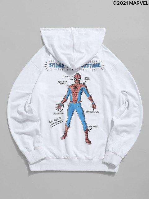 Sweat à Capuche Graphique Marvel Spider-Man Imprimé avec Poche en Avant - Blanc S Mobile