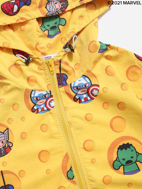 shop Marvel Spider-Man Cartoon Print Hooded Jacket - YELLOW S Mobile