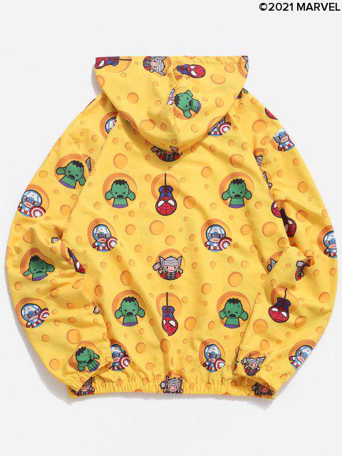 latest Marvel Spider-Man Cartoon Print Hooded Jacket - YELLOW L Mobile