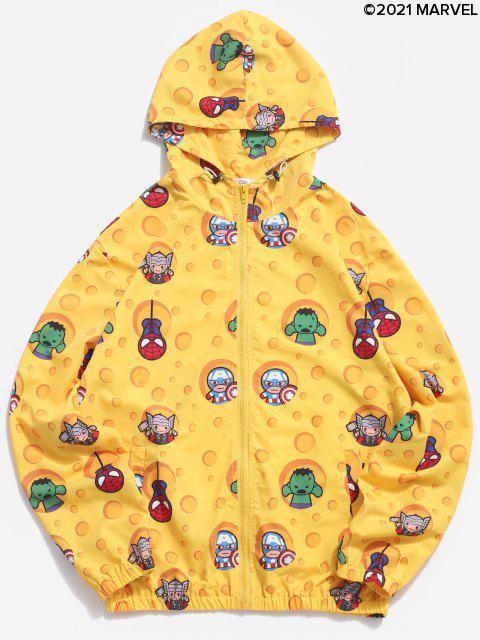 trendy Marvel Spider-Man Cartoon Print Hooded Jacket - YELLOW XL Mobile