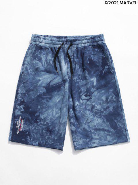 Shorts de Sudor con EstampadodeLetrasySpider-Mancon Bordado deSpider-Man - Azul Océano  2XL Mobile
