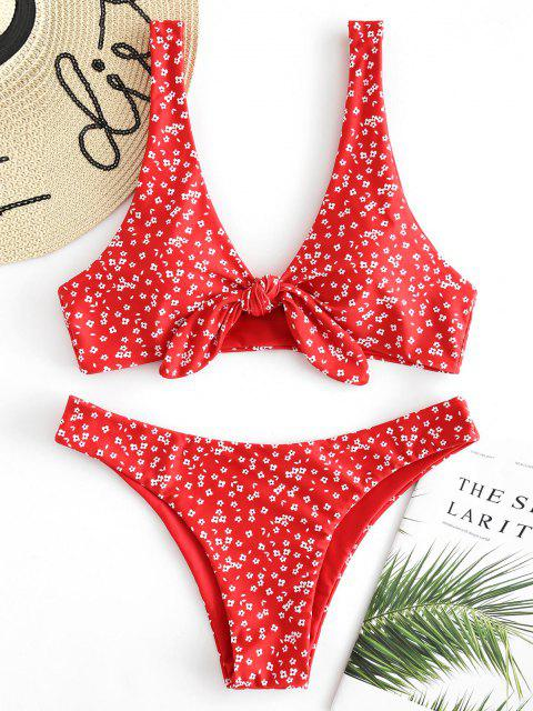 womens Tiny Floral Low Waisted Knot Bikini Swimsuit - FIRE ENGINE RED S Mobile