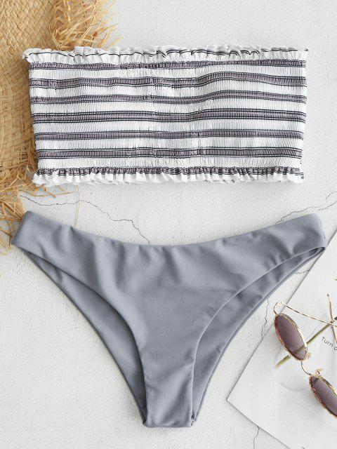 online ZAFUL Stripe Smocked Bandeau Bikini Set - GRAY CLOUD S Mobile