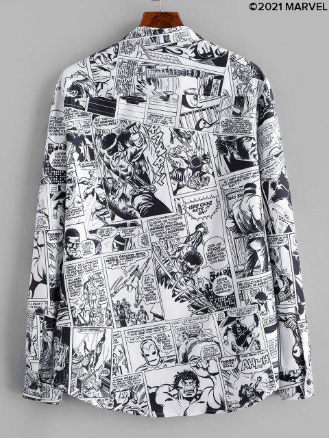 Marvel Spider-Man Allover Comic Druck Hemd Zuknöpfen - Weiß S Mobile