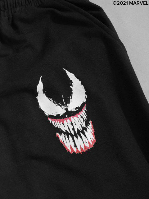 women's Marvel Spider-Man Venom Print Contrast Sweatpants - BLACK L Mobile