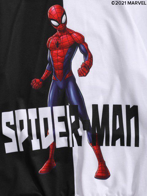 sale Marvel Spider-Man Print Two Tone Drawstring Hoodie - MULTI-A 2XL Mobile