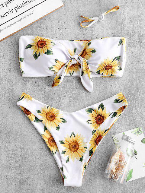 shop ZAFUL Knot Sunflower Print Bikini Set - WHITE S Mobile