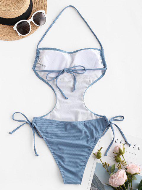 Costume da Bagno Annodato a Costine con Halter di ZAFUL - Profondo blu XL Mobile