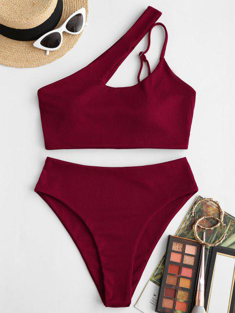 affordable ZAFUL One Shoulder Ribbed High Leg Tankini Swimwear - DEEP RED L Mobile