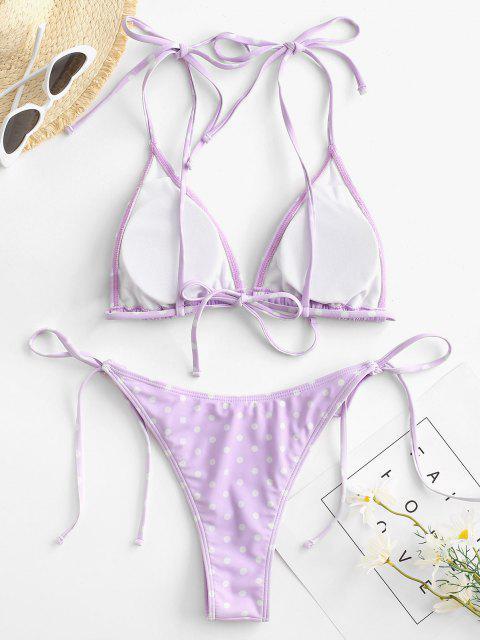 chic ZAFUL Polka Dot String Bikini Set - LIGHT PURPLE L Mobile