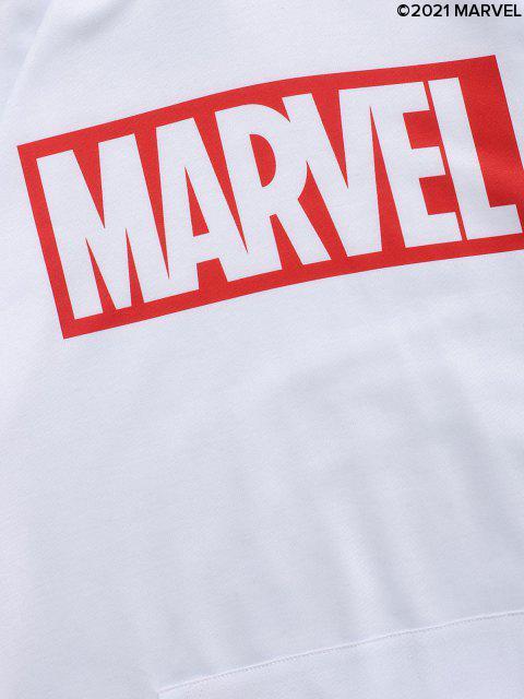 chic Marvel Spider-Man Spider-Girl Venom Print Kangaroo Pocket Hoodie - WHITE L Mobile