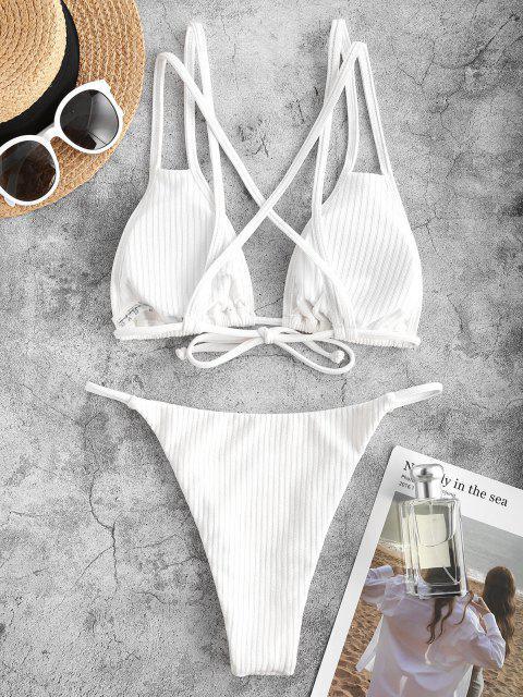 chic ZAFUL Rib-knit Crisscross Back String Bikini Swimwear - WHITE S Mobile