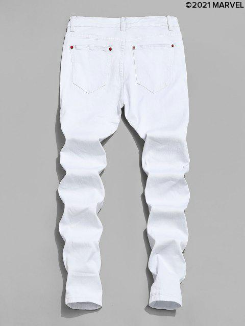 outfits Marvel Spider-Man Ripped Jeans with Keychain - WHITE L Mobile