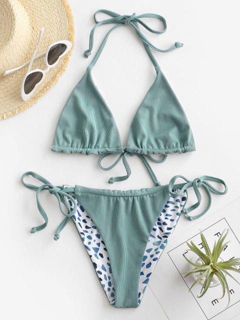 chic ZAFUL Ribbed Leopard Reversible String Bikini Swimwear - LIGHT GREEN S Mobile