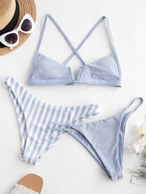 ladies ZAFUL Striped Ribbed Cross Three Piece Bikini Swimwear - LIGHT BLUE M Mobile