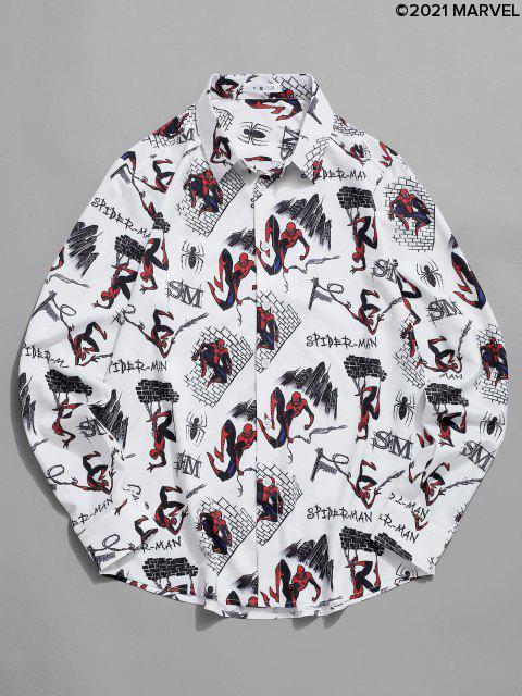 fashion Marvel Spider-Man Cartoon City Print Long Sleeve Shirt - WHITE L Mobile