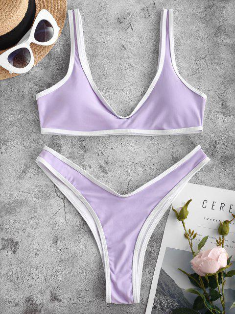 women Contrast Trim Sport Bikini Set - LIGHT PURPLE M Mobile