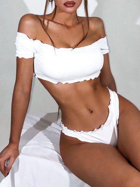 affordable ZAFUL Lettuce-trim Off Shoulder Ribbed Three Piece Bikini Swimsuit - WHITE M Mobile