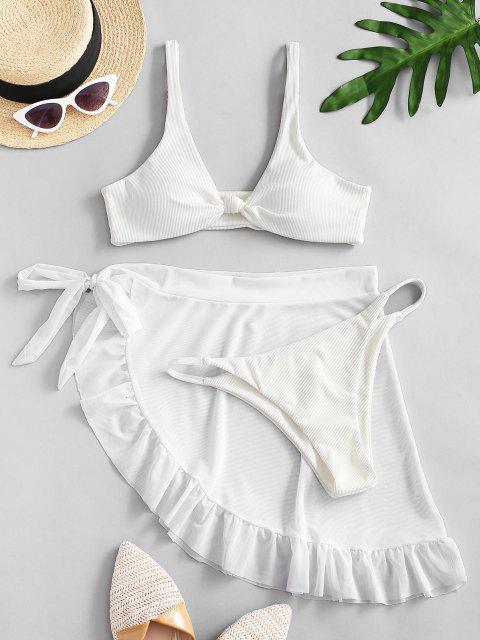 unique ZAFUL Knot Ribbed Bikini with Ruffle Mesh Sarong - WHITE S Mobile