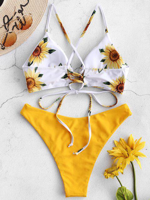ZAFUL Conjunto de Biquíni de Girassol Criss Cross - Borracha Ducky Amarela S Mobile
