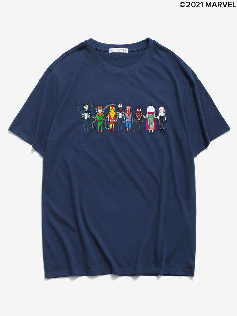 Camiseta Básica conEstampadodeSpider-ManyVenom - Azul Oscuro de Denim M Mobile