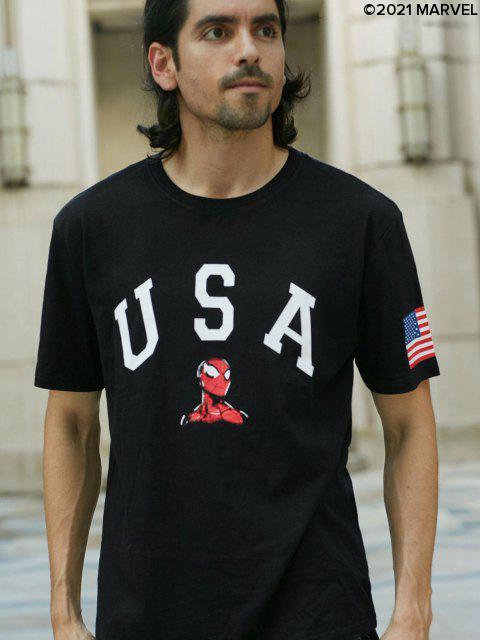 CamisetaMarvelconEstampadodeSpider-ManyBanderadeEstadosUnidos - Negro XL Mobile