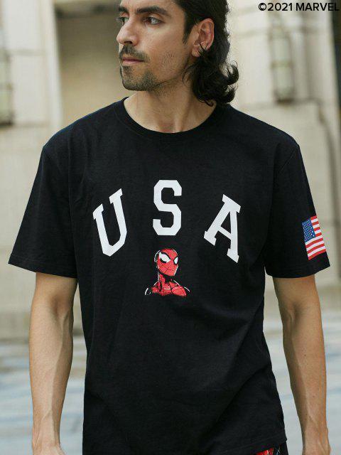 latest Marvel Spider-Man USA American Flag Graphic T-shirt - BLACK XL Mobile