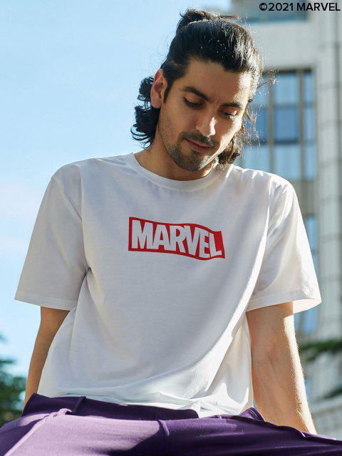 affordable Marvel Spider-Man Heroes Pattern Graphic T-shirt - WHITE M Mobile