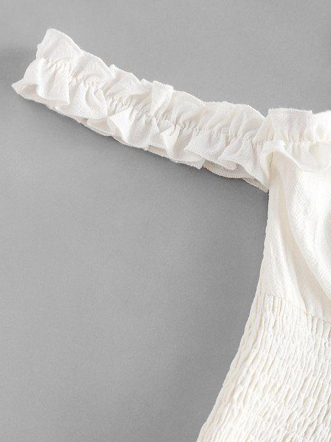 womens ZAFUL Smocked Tie Shoulder Frilled Ruffle Blouse - WHITE M Mobile