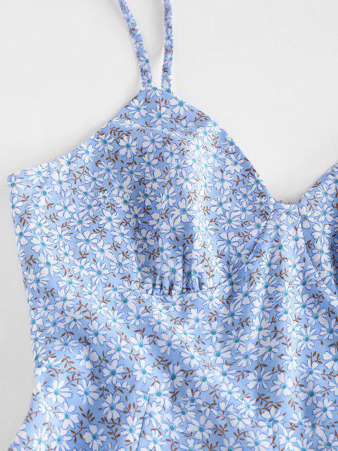 ZAFUL Barboteuse Fleurie Imprimée à Jambe Large à Bretelle à Volants - Bleu clair XL Mobile