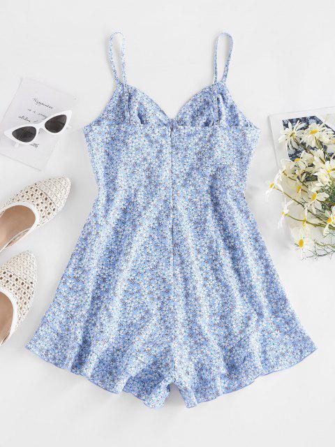 shops ZAFUL Ditsy Print Ruffle Cami Wide Leg Romper - LIGHT BLUE M Mobile