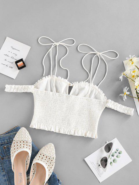 trendy ZAFUL Smocked Tie Shoulder Frilled Ruffle Blouse - WHITE S Mobile