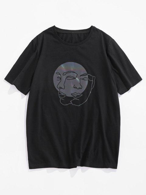 ZAFUL Reflective Face Figure Basic T-shirt - أسود L Mobile