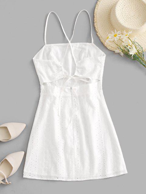 ZAFUL Broderie Anglaise Cami Kleid mit Schlitz - Weiß S Mobile