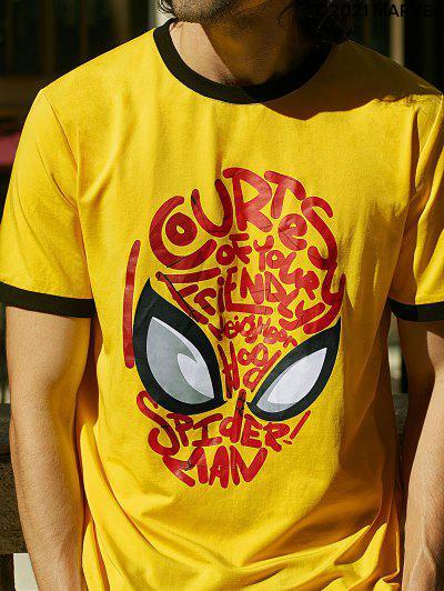 Marvel  Spider-Man Mask Graphic Ringer T Shirt - Yellow 2xl