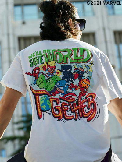 Marvel Spider-Man Heroes Pattern Graphic T-shirt - White M