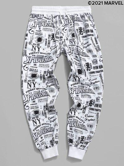 Marvel Spider-Man Graphic Pattern Jogger Sweatpants - White S