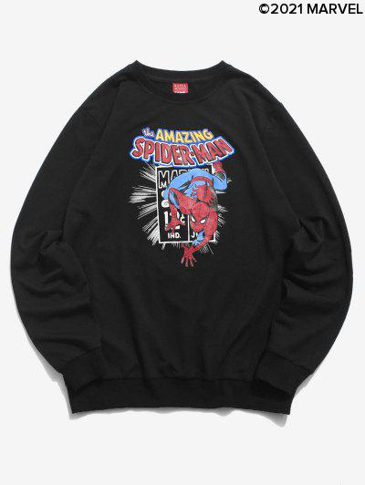 Marvel Spider-Man Letter Graphic Printed Sweatshirt - Black S