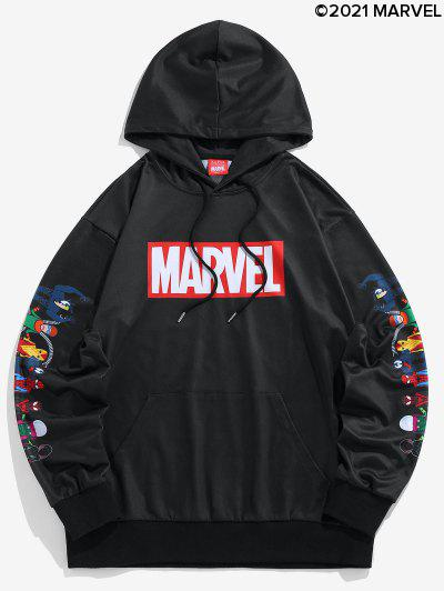 Marvel Spider-Man Spider-Girl Venom Print Kangaroo Pocket Hoodie - Black M