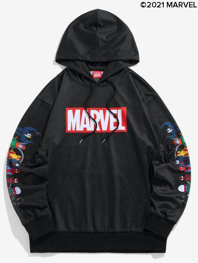 Marvel Spider-Man Spider-Girl Venom Print Kangaroo Pocket Hoodie - Black L