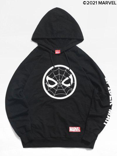 Marvel Spider-Man Icon Letters Print Pullover Hoodie - Black 2xl