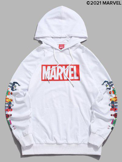 Marvel Spider-Man Spider-Girl Venom Print Kangaroo Pocket Hoodie - White L