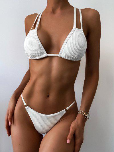 ZAFUL Maillot De Bain Bikini Croisé Au Dos Côtelé à Cordon - Blanc S
